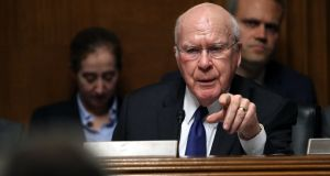 Democratic senator  Patrick Leahy (D-VT) questions US attorney general William Barr during the Senate hearing on the Mueller report on Wednesday. Photograph: Win McNamee/Getty Images