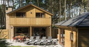 Four-bedroom lodge and patio at the new Center Parcs in Co Longford.