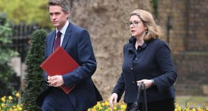 Britain's defence secretary Gavin Williamson on his way to Downing Street accompanied by his eventual successor, international development secretary Penny Mordaunt. Photograph: Daniel Leal-Olivas/Getty