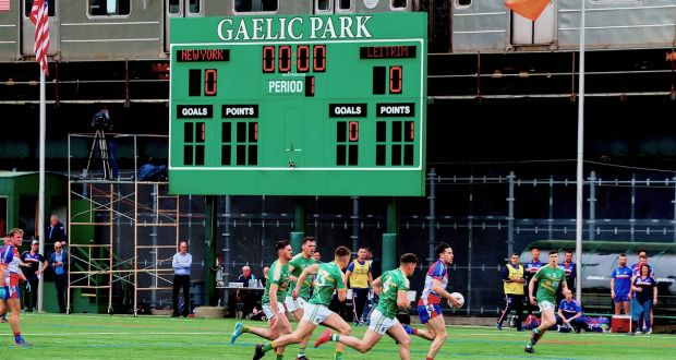 New York take on Leitrim in the Connacht Championship in Gaelic Park, The Bronx, New York, last year. Photograph: Andy Marlin/Inpho