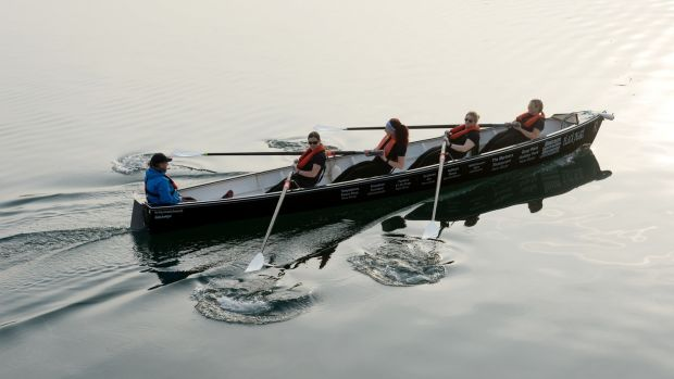 Members of the St Michael's Rowing Club practicing to defend their title in the Celtic Challenge rowing from Arklow to Aberystwyth. Photograph: Alan Betson/The Irish Times