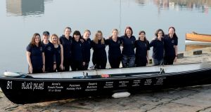 Members of the St Michael's Rowing Club who will  defend their title in the Celtic Challenge rowing from Arklow to Aberystwyth, a 155 km journey taking between 20 to 24 hours for the rotating crew of  12 to complete. Photograph: Alan Betson