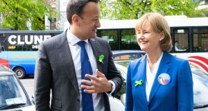 Taoiseach Leo Varadkar and MEP Deridre Clune pictured in Cork on Wednesday. Photograph: Darragh Kane