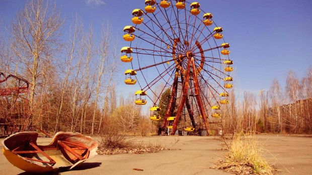 Abandoned ferris wheel in the ghost town of Pripyat – still considered too dangerous for human habitation. Photograph: Getty Images
