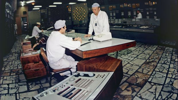 Unit control desk of the Chernobyl nuclear power plant, April 18th, 1983. Photograph: Sovfoto/UIG via Getty Images