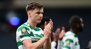 Celtic fullback Kieran Tierney will undergo a double hernia operation at the end of the season. Photograph: Mark Runnacles/Getty