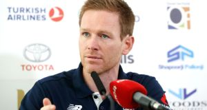 England captain Eoin Morgan at a press conference ahead of the One-Day International against Ireland in Malahide. Photograph:  James Crombie/Inpho