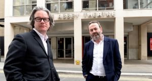 Graham McLaren and Neil Murray of the National Theatre of Scotland who have been appinted as the new directors of the Abbey Theatre. Photograph: Cyril Byrne