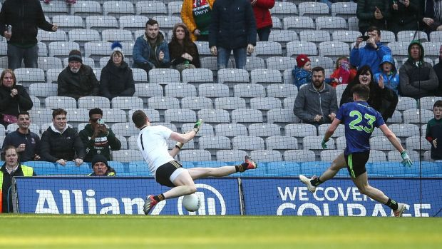 Mayo's Ciaran Treacy scores a goal against Kerry in the league final at Croke Park. Treacy has made a major impact at midfield since his debut. Photograph: James Crombie/Inpho