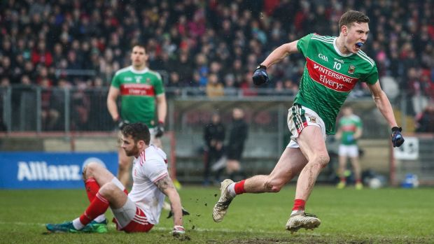 Fionn McDonagh celebrates a goal against Tyrone at Healy Park in Omagh. Photograph: Tommy Dickson/Inpho