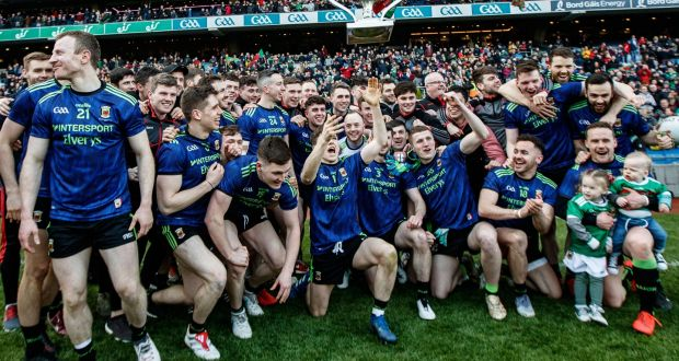 Mayo celebrate their league final win in Croke Park. It was a deserved success and long-time observers were impressed by the game management that conclusively saw off Kerry. Photograph: James Crombie/Inpho