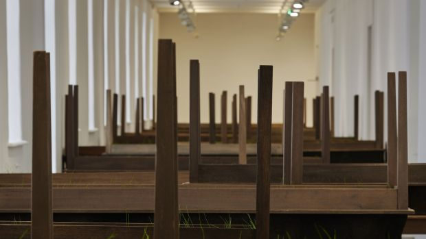 Doris Salcedo, Plegaria Muda, 2008–2010, Wood, mineral compound, cement and grass (28 units), Dimensions variable, Courtesy of the artist and White Cube Gallery, London. Installation view Doris Salcedo, Acts of Mourning, IMMA, Dublin, 2019. Photograph: Ros Kavanagh