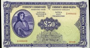 The portrait of Lady Hazel Lavery, drawn by her husband John, appeared anonymously on Irish banknotes from 1928 to 1977