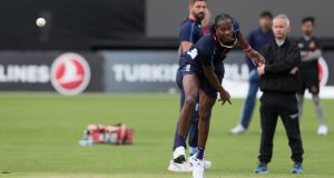 England all-rounder Jofra Archer during a nets session in  Malahide on Thursday ahead of Friday's One-Day International against Ireland. Photograph:   Brian Lawless/PA Wire