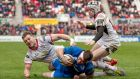 Ulster's Darren Cave and Michael Lowry fail to stop Leinster's Fergus McFadden from scoring a try. McFadden has been banned for six weeks following an incident in the same race. Photo: Morgan Treacy/Inpho