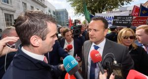 IFA president Joe Healy confronting  Taoiseach Leo Varadkar  at a farmers' protest outside the Cabinet meeting in Cork. Photograph:  John Allen
