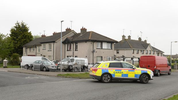 Garda armed support patrol in the St Laurence                   Park area of Drogheda, Co Louth. Photograph: Dara Mac                   Dónaill/The Irish Times