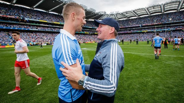 Paul Mannion celebrates the All-Ireland win over Tyrone with Dublin manager Jim Gavin. Photograph: Ryan Byrne/Inpho