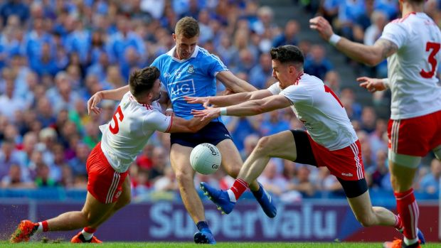 Dublin Paul Mannion shoots during the 2018 All-Ireland SFC Final against Tyrone at Croke Park. Photograph: Tommy Dickson/Inpho