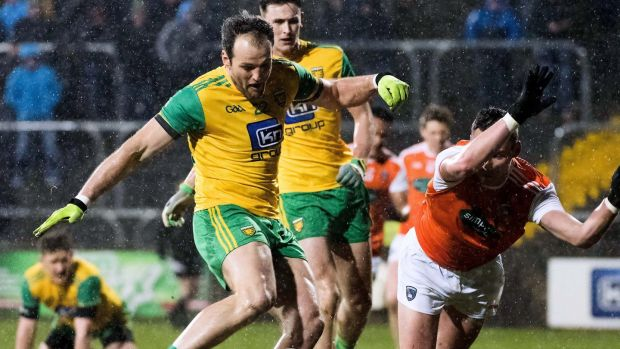 Donegal's Michael Murphy scores a goal against Armagh during the league. Photograph: Evan Logan/Inpho