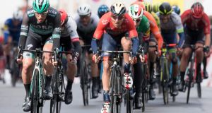 Sam Bennett    sprints for the second place in front of third-placed Sonny Colbrelli  during the second stage of the 73th Tour de Romandie. Photograph: Laurent Gillieron/EPA