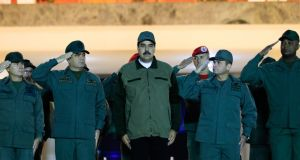 Venezuelan president Nicolás Maduro attends a 'march to reaffirm the absolute loyalty' of the Venezuelan army. Photograph: HO/PresidencyGetty