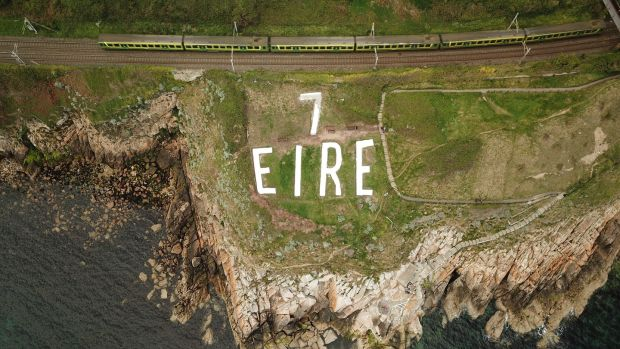 The Dalkey second World War 'Éire' sign renovated by Dalkey Tidy Towns. Photograph: Enda O'Dowd