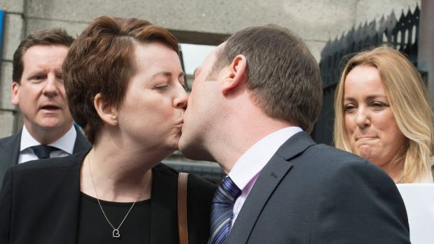 Ruth Morrissey and her husband Paul outside the Four Courts. Photograph: Dave Meehan/The Irish Times