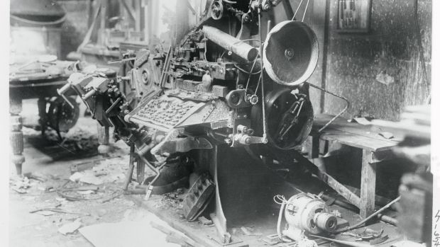The office of the Freeman's Journal wrecked in 1922 by anti-Treaty republicans. Photograph: Getty Images