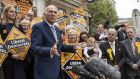 Leader of the Liberal Democrats Vince Cable addresses the media with activists outside Chelmsford City Council Civic Centre. Photograph: Dan Kitwood/Getty Images