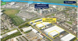An aerial view of Century Business Park, in Finglas, Dublin 11, with the subject portfolio outlined.