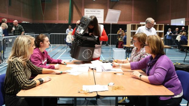 Counting of ballots begins in the Northern Ireland local elections as at Coleraine Leisure centre in Co Derry. File photograph: Niall Carson/PA Wire