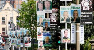 Election posters in Dublin, May 2007. Such posters  are unsightly, intrusive and damaging to the environment. Photograph:  Niall Carson/PA wire