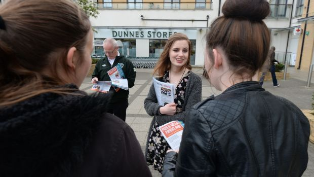 People before Profit candidate Carah Daniel canvassing at Dunnes Stores in Balgriggan, Co Dublin. Photograph: Alan Betson