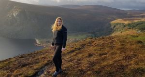Rachel Flaherty hiking along Lough Tay in the Wicklow Mountains in Co Wicklow.