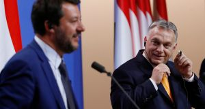 Matteo Salvini and Viktor Orban. Mr Orban called Mr Salvini 'the most important person in Europe today' for refusing to accept migrants arriving to Italy by ship from north Africa. Photograph: Szilard Koszticsak/EPA