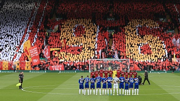 Liverpool fans display a mural to remember the 96 victims of the Hillsborough Disaster on the 30th anniversary of the tragedy. Photograph: Getty Images