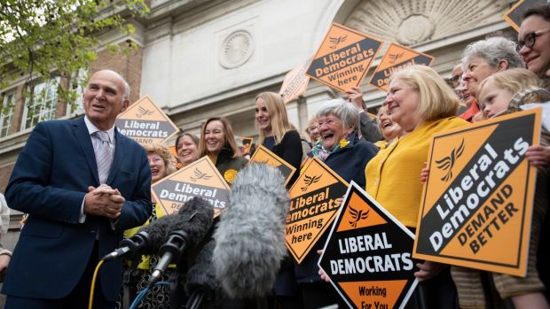 Liberal Democrats leader Sir Vince Cable with activists at the Civic Centre, Chelmsford following the voting in the English council elections. Photograph: David Mirzoeff/PA Wire
