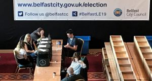 Counting  under way in Belfast after voters went to the polls in local elections. Photograph:   Rebecca Black/PA