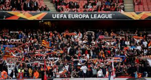 Valencia fans during their team's Europa League semi-final at the Emirates Stadium. Photograph: David Klein/Reuters