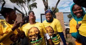Supporters of the ruling African National Congress (ANC) in Cape Town, ahead of the general elections. Photograph: Rodger Bosch / AFP