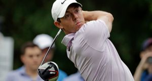 Rory McIlroy watches his tee shot on the 11th hole during the second round of the Wells Fargo Championship in Charlotte, North Carolina on Friday. Photograph: AP