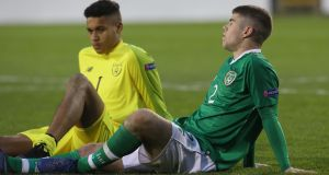 Ireland's Sean McEvoy and Gavin Bazunu dejected after the game at the Tallaght Stadium. Photograph: PA