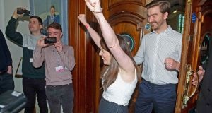 The Alliance Party's Nuala McAllister celebrates as she is elected for the Castle area during the local  election count at Belfast City Hall. Photograph: Mark Marlow/PA