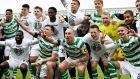Celtic celebrate after securing the league title against Aberdeen. Photograph: Ian MacNicol/Getty