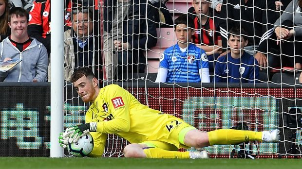 Mark Travers was named man of the match as Bournemouth pipped Spurs at the death. Photograph: Ben Stansall/AFP/Getty