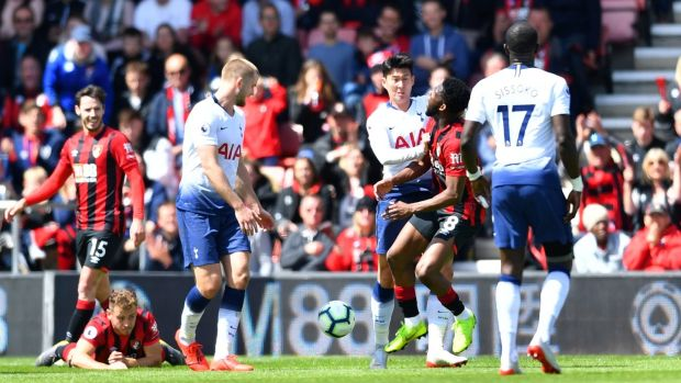 Tottenham's Son Heung-Min was shown a straight red card for a push on Jefferson Lerma. Photograph: Dylan Martinez/Reuters