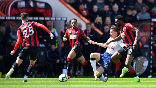 Juan Foyth was shown a straight red card for a tackle on Bournemouth's Jack Simpson. Photograph: Dylan Martinez/Reuters