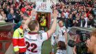 Ulster's Darren Cave and Rory Best leave the field after their win over Connacht at Kingspan Stadium. Photograph: James Crombie/Inpho