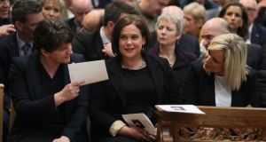 DUP leader Arlene Foster with Sinn Féin's Mary Lou McDonald and Michelle O'Neill at the Lyra McKee funeral in Belfast last month. Photograph: Brian Lawless/PA